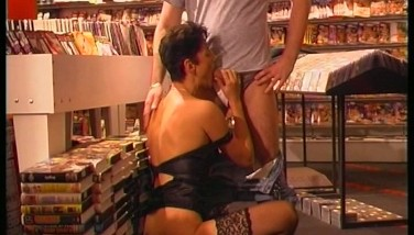 Brunette Dual Nailed In The Pornography Shop