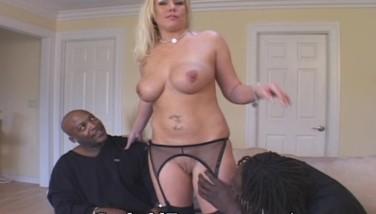 Blonde Wife Poked By 2 Dark-hued Studs