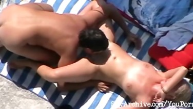 Blonde Mummy Blows Her Husband And Gets Smashed At The Beach