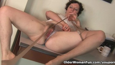 Hairy Gilf In Stockings Needs To Get Off