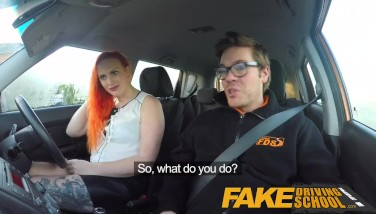 Fake Driving College Marvelous Redhead Lusts After Instructors Immense Cock